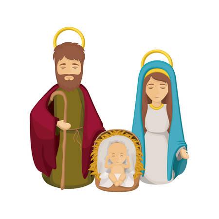 Mary joseph and baby jesus icon. Holy night family christmas and betlehem theme. Isolated design. Vector illustration Illustration