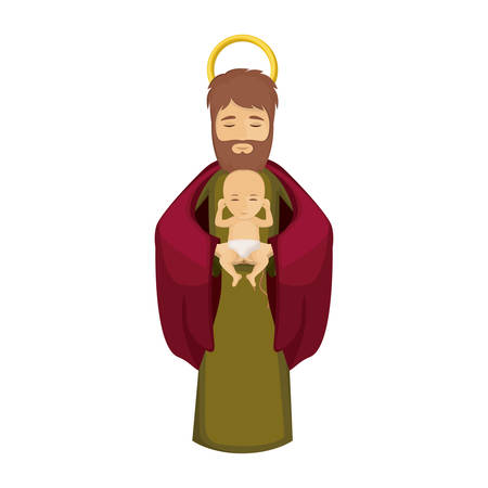 Joseph and baby jesus icon. Holy night family christmas and betlehem theme. Isolated design. Vector illustration Illustration