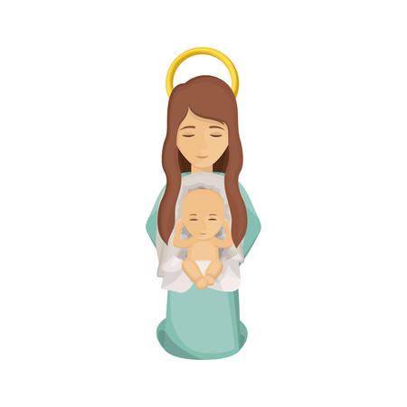 nativety: Mary and baby jesus icon. Holy night family christmas and betlehem theme. Isolated design. Vector illustration Illustration