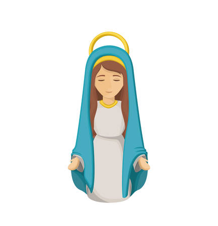 conception: Mary cartoon icon. Holy night family christmas and betlehem theme. Isolated design. Vector illustration Illustration
