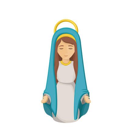 Mary ikona kreskówki. Święta Rodzina noc Bożego Narodzenia i szopka tematem. Izolowane projektowania. ilustracji wektorowych Ilustracje wektorowe