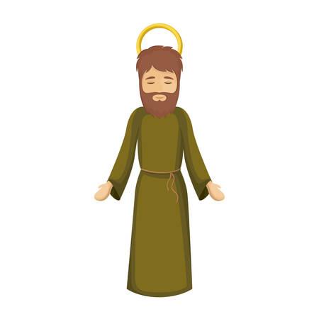 Joseph cartoon icon. Holy night family christmas and betlehem theme. Isolated design. Vector illustration