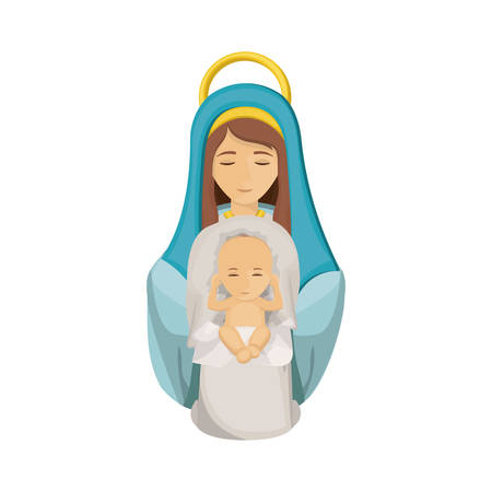 Mary and baby jesus icon. Holy night family christmas and betlehem theme. Isolated design. Vector illustration Illustration