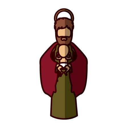 nativety: Joseph and baby jesus cartoon icon. Holy night family christmas and betlehem theme. Isolated design. Vector illustration