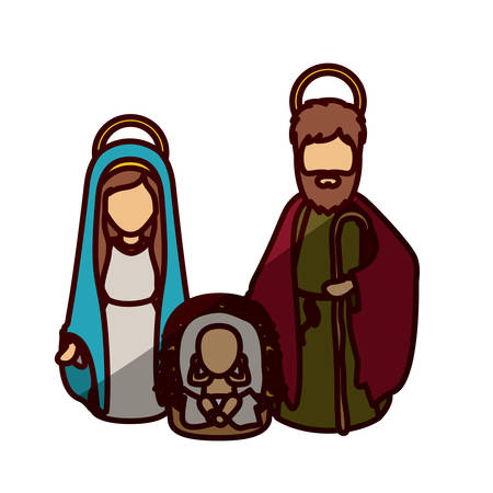 Mary joseph and baby jesus icon. Holy night family christmas and betlehem theme. Isolated design. Vector illustration Illustration