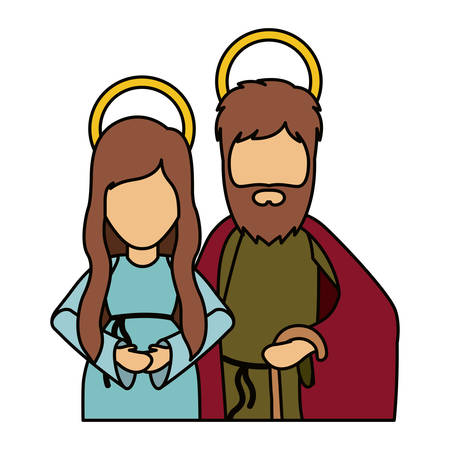 Mary and joseph icon. Holy night family christmas and betlehem theme. Isolated design. Vector illustration Illustration