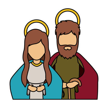 holy night: Mary and joseph icon. Holy night family christmas and betlehem theme. Isolated design. Vector illustration Illustration