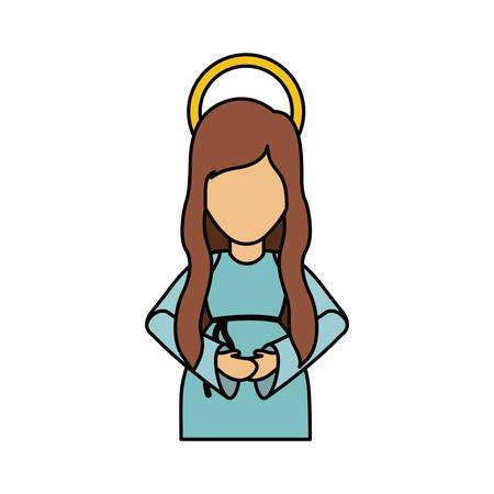 Mary cartoon icon. Holy night family christmas and betlehem theme. Isolated design. Vector illustration Illustration