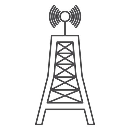 broadcasting: Antenna signal icon. Broadcasting news technology media and communication theme. Isolated design. Vector illustration