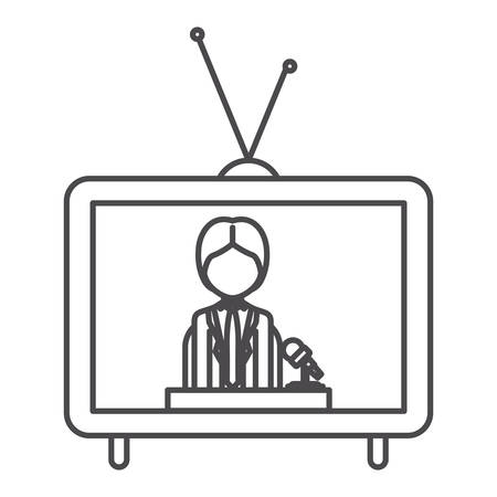 broadcasting: Journalist inside tv icon. Broadcasting news technology media and communication theme. Isolated design. Vector illustration
