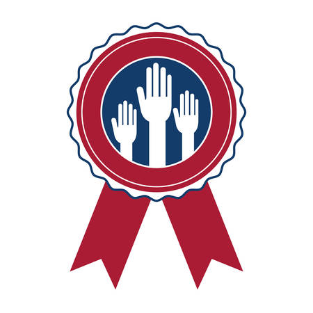 Hand inside seal stamp icon. Vote president election government  and campaign theme. Isolated design. Vector illustration