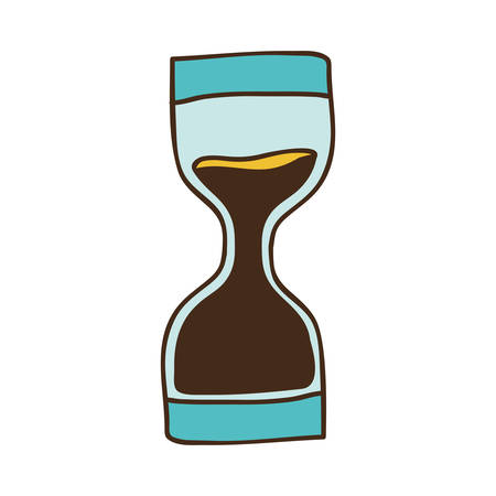 seconds: sandclock time device icon over white background. draw design. vector illustration