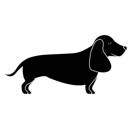 silhouette of cute dog animal icon over white background. vector illustration Illustration