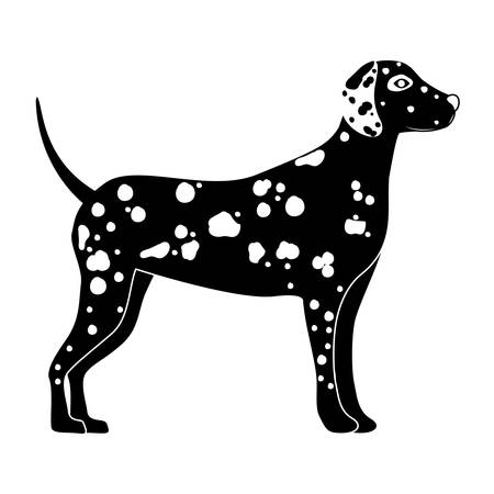 dalmatian: silhouette of cute dalmatian dog animal icon over white background. side view. vector illustration