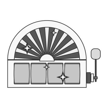 palanca: máquina tragaperras silueta con la ilustración del vector de la palanca