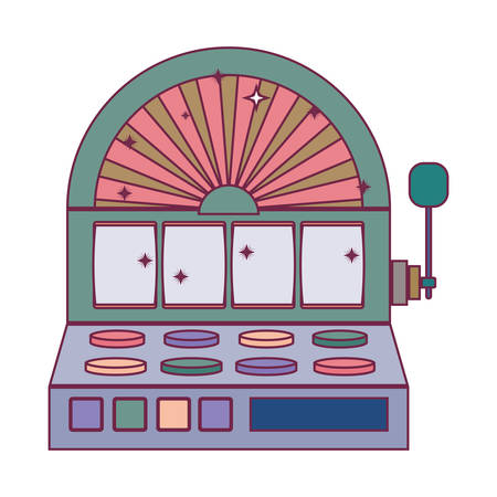 silhouette color slot machine with button panel vector illustration