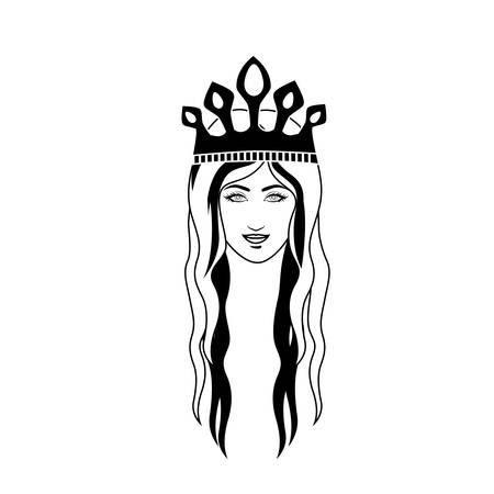 long hair: silhouette head queen long hair and crown vector illustration