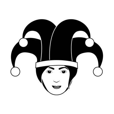 harlequin: silhouette of head harlequin man vector illustration