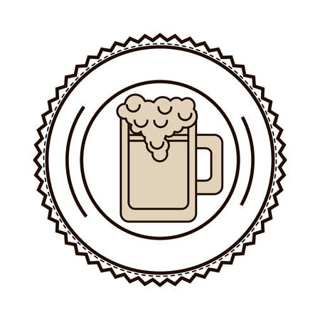 foamy: silhouette with foamy beer glass on dish vector illustration