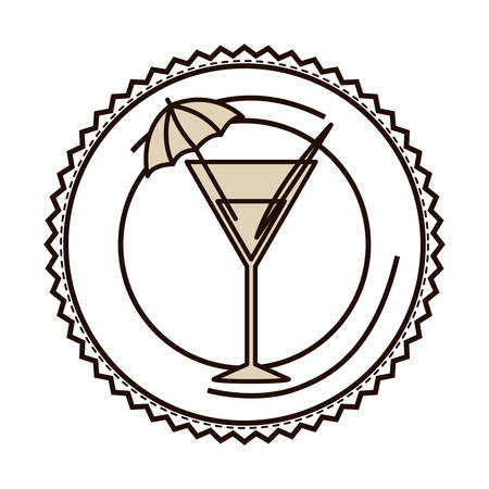 silhouette with drink cocktail glass on dish vector illustration