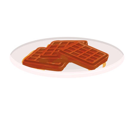 crispy: image color of dish with waffles vector illustration