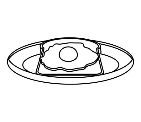 crusty: silhouette monochrome of dish with bread and egg vector illustration