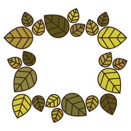 flowered: frame with multiple green leaves vector illustration