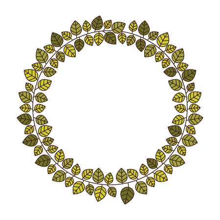 circular frame of green leaves with ramifications vector illustration Illustration