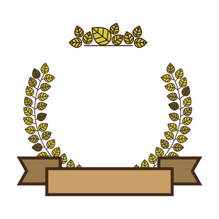 Arch of green leaves with labels vector illustration
