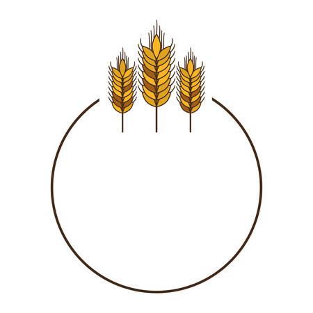 three spikes with circular border vector illustration Illustration