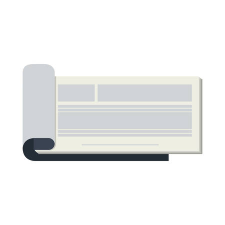 personal banking: silhouette open cheekbook with text lines vector illustration