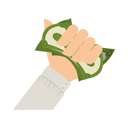 us currency: hand holding dollar with black sleeve vector illustration Illustration