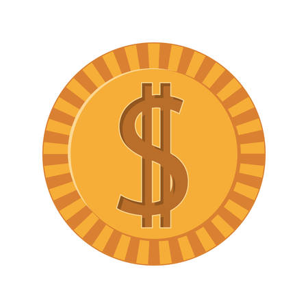 us coin: silhouette golden coins with dollar symbol vector illustration