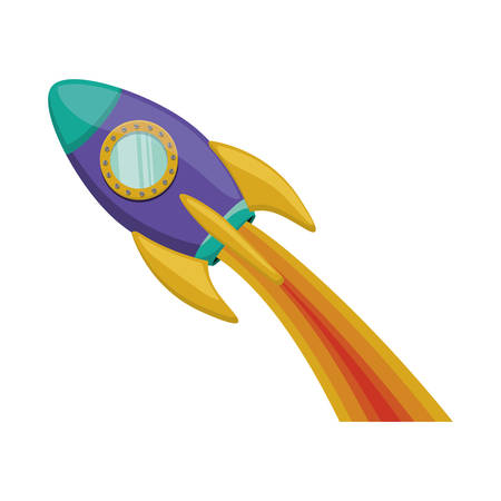 silhouette purple rocket with wake of fire Illustration