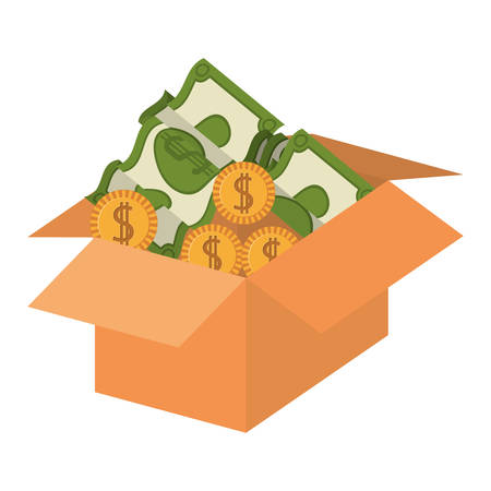 packing: silhouette packing open with coins and dollars vector illustration Illustration