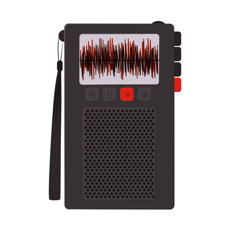 tech Radio recorder with buttons vector illustration