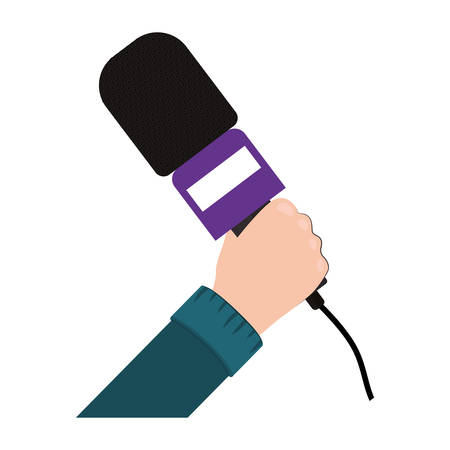 hand holding microphone with purple support vector illustration