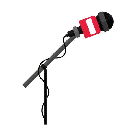 microphone stand: microphone stand with round grid vector illustration