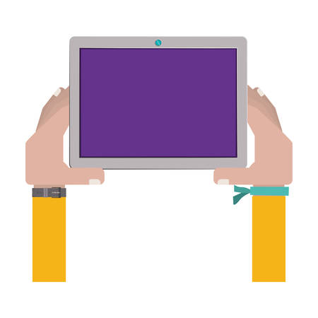 iphon: hands holding a touch tablet with bracelet