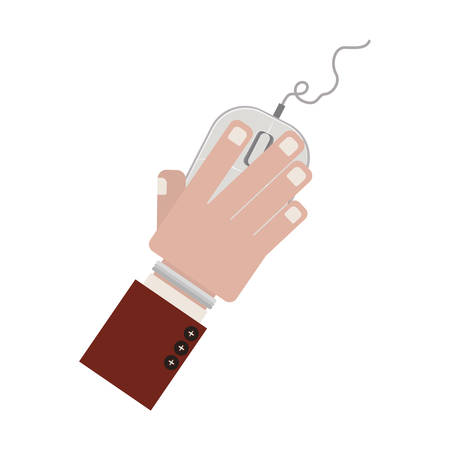 clic: hand with computer mouse and wired vector illustration Illustration