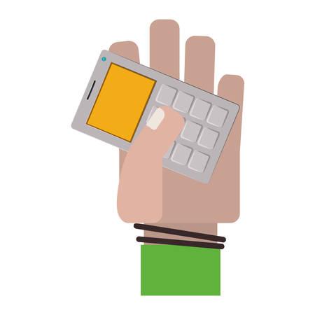 hand holding gray office calculator vector illustration Illustration