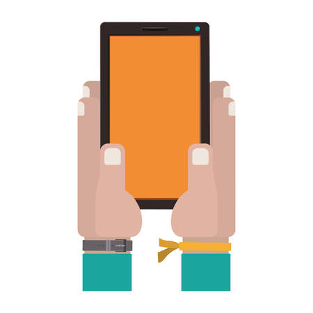 iphon: hands holding a touch tablet with watch vector illustration