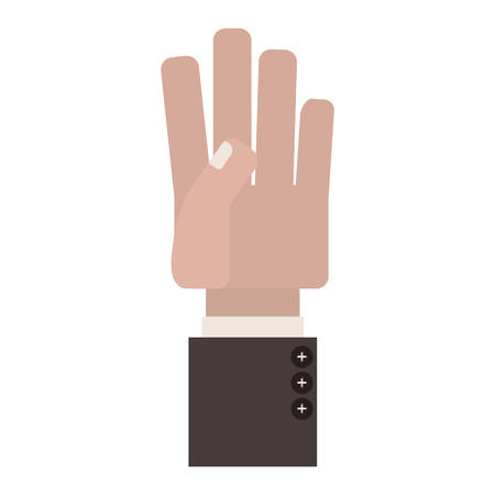 sleeve: palm view hand with formal suit sleeve vector illustration