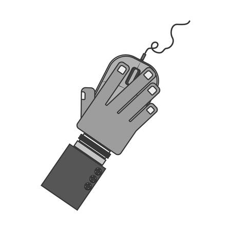 clic: silhouette hand with computer mouse and wired vector illustration