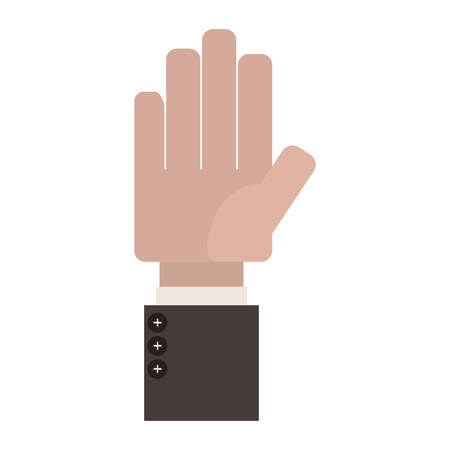 sleeve: Open Palm of hand with formal suit sleeve vector illustration Illustration