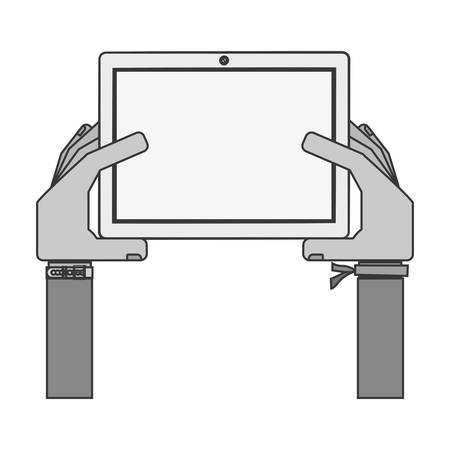 iphon: silhouette hands holding a touch tablet with bracelet vector illustration