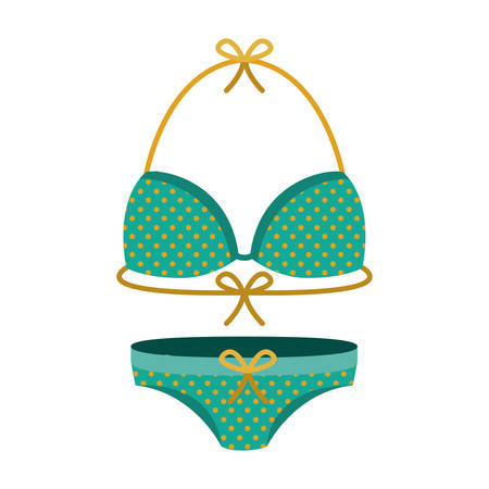 young girl underwear: female swimwear green with yellow dots vector illustration