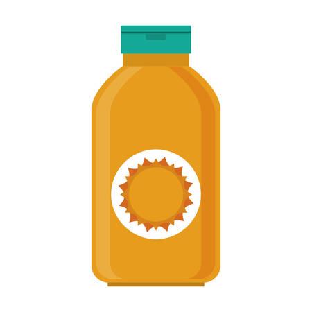 to sunbathe: silhouette with big bottle of sunscreen vector illustration Illustration