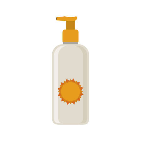 silhouette with small bottle of sunscreen vector illustration