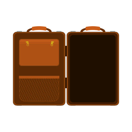 handgrip: travel big suitcase brown opened with handle vector illustration Illustration